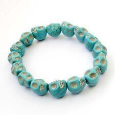 12mm Green Howlite Turquoise Skull Tibet Buddhist Prayer Beads Mala Bracelet