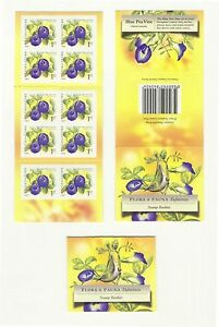 SINGAPORE 2009 BLUE PEA VINE FLOWER 1ST LOCAL 1ST PRINT 2009A BOOKLET 10 STAMPS