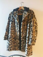 Topshop leopard print faux fur coat uk 8