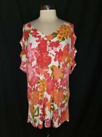 SLINKY BRAND Plus Size 1X Tunic Top White Pink Orange Floral Cutout 3/4th Sleeve