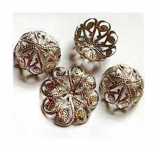 THIRTY 30 LARGE FIRM Filigree Platinum Silver Plated Iron Bead Caps Lead Cadmium