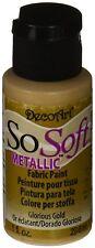 Deco Art SoSoft Metallic Fabric Acrylic Paint 1-Ounce Glorious Gold
