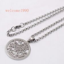 Pentagram Pendant Amulet Stainless Steel Magic Silver Rolo Chain 4mm 30'' Hot !