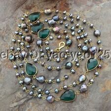 "K052501 74""  Black Pearl Green Crystal Necklace"