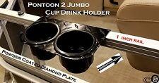 """Pontoon Boat 2 JUMBO Cup Drink Holder Black Aluminum Diamond Plate fits 1"""" Rail"""