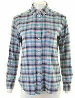 JACK WILLS Womens Flannel Shirt UK 10 Small Multicoloured Check Boyfriend HF02