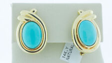 Natural Turquoise 14K Yellow Gold Earrings Antique