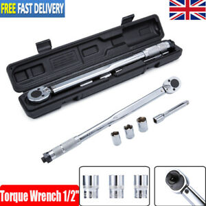 "Ratcheting Torque Wrench 1/2"" Socket Drive Extension Adjustable 28-210Nm UK"