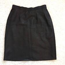Hugo Switzerland Womens 8 Pencil Skirt Black Textured Pure Leather Lined EU 38