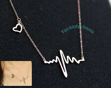 My Heart Beats for Love You Rose Pink Gold Plated Charm Necklace Made in Korea