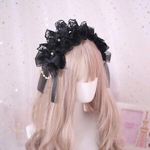 Women Girl Lolita Headband Lace Bead Bowknot Headwear Gothic Maid Cosplay Black