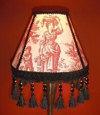 Lampshade,Red&Ivory,handmade,w/black tassels,Toile