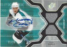 Matt Carle 2006-07 SPx Spectrum #177 Jersey Autograph Card /25 Dallas Stars
