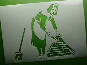Banksy Cleaning Women Painting Stencil Graffiti Art MYLAR Sheet 190 Micron