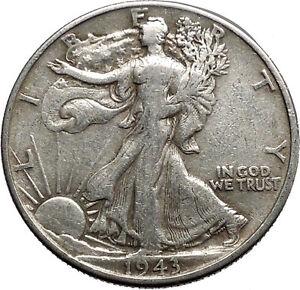 1943 WALKING LIBERTY Half Dollar Bald Eagle United States Silver Coin i44674