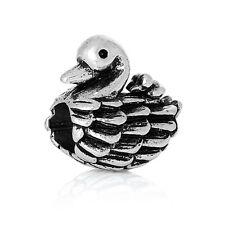 Antique Silver Tone Swan Spacer Charm Bead  For European Charm Bracelets