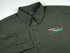FUJI FILM Professional Photographer  - Men's S Embroidered Dress Shirt  - OLIVE