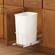 Pull Out Trash Can In Cabinet Single Kitchen Space Saving Solution 35 Qt White