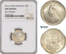 AG201-R, Thailand, Rama V, 1/4 Baht RS121 (1902) Silver, NGC UNC Det.