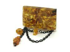 Old Vintage Amber BROOCH Antique Pressed Natural Baltic Amber Beads 16,5g 10002