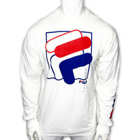 NWT FILA AUTHENTIC MEN'S WHITE CREW NECK LONG SLEEVE TEE T-SHIRT SIZE L XL 2XL