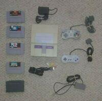 Super Nintendo SNES Console System Bundle 4 Games 2 Controllers See Description