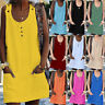 Womens Neon Pockets Buttons Party Holiday Ladies Tunic Shift Tops Mini Dress UK