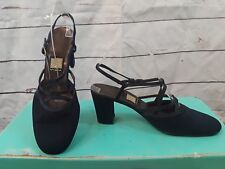 "NINA Black STRAPPY SATIN  SLINGBACK Spain SHOES 3"" HEELS Leather sole 9.5"