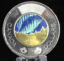 """PAINT ERROR """"Snow Cap Mtns"""" Canada 2017 150 glow-in-the-dark  $2 toonie c-18"""