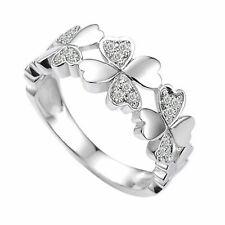 White Gold Over Size 10 Simulated Diamond Four-Leaf Clover Ring 14k