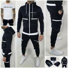 Tuta Completo Cargo Nero Tasche Uomo Felpa+Pantalone+T-shirt sport tempo libero