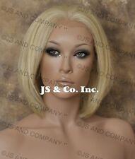Human Hair Blend Lace Front Wig HEAT SAFE Pale Blonde WBMC 613