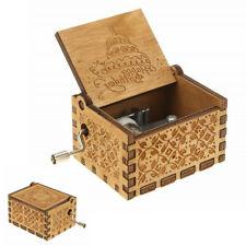 Happy Birthday Carved Wooden Hand Crank Handmade Music Box Kids Family Toy Gift