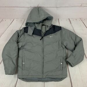 Vintage Nike Quilted Puffer Coat Jacket Youth Large Removable hood Reflective