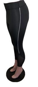 Women's High Waist Yoga Pants Black Mesh Leggings Sports Running Fitness 2XL