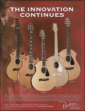 The Parker P9E P7E PA28 PA24 PA22 Acoustic Guitars ad 8 x 11 advertisement print