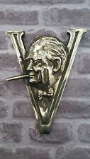 Winston Churchill Brass World War 2 WW2 Victory Sign Plaque Emblem