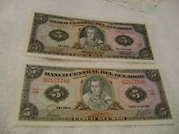 ECUADOR-(1980-1982-)-5 SUCRES-LOT of 2-BANKNOTES-UNCIRCULATED