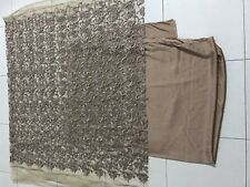 Unstitched Fabric Newt Embroiderd Brown Beautiful With Silk Pants Formal Wedding