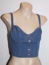 Collection Designer Blue Stretch Denim Crop Bra Top Size S BNWT #SW26