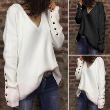 Mode Femme Pull chandails Ample Confor Manche Longue Col V Boutons Haut Plus