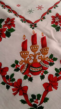 """Vintage 1950's Christmas Table Cloth Rectangle 50 x 60"""" candles, poinsettia"""