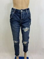 American Eagle Women's Hi Rise Tomgirl Crop Capri Distressed Blue Jeans Size 00