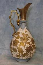 15 Inch Antique Ewer Shaped Vase Blue Trim Old Hall Daisy Flower Design Ca.1890