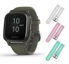 Garmin Venu Sq Music GPS Fitness  Moss/Slate Smartwatch w White/Pink/Teal Straps