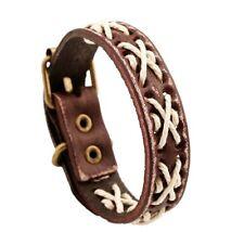 MEN/ Women Unique Vintage Weave Rope Genuine Leather Wristband/ Leather Bracelet