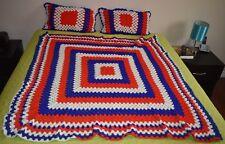 VTG Handmade PATRIOTIC COLORS Red White & Blue AFGHAN Throw Blanket & Pillows