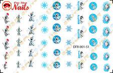 51pcs/Set Christmas Disney Frozen Waterslide Nails Decals (Tattoo) DFR-001-51
