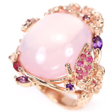HANDMADE REAL AAA ROSE QUARTZ RUBY AMETHYST RHODOLITE STERLING 925 SILVER RING 8