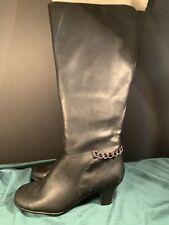 Women's Size 8 M Chain Black Aerosoles  Boots w/ Adjustable Wide Calf Zipper